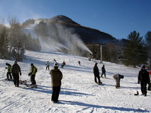 Hunter Mountain ski resort, NY. On sunny winter day royalty free stock images