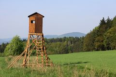 Hunter observatory. Lookout for hunter on the field Royalty Free Stock Photo