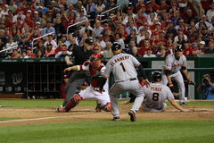 Hunter Pence Safe at a play at the plate on the road against Washington Stock Photos