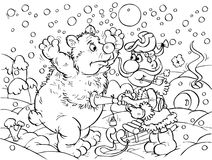 Hunter and polar bear. Black-and-white outline (for a coloring book): funny hunter captures a big polar bear royalty free illustration
