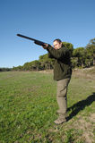 Hunter portrait. Hunter shooting to small game Stock Images