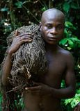 The hunter-pygmy with a net. Stock Photos