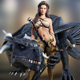 Hunter queen and her dragon. Beautiful warrior female posing with her mystic dragon and bow on a blurred background. Photo realistic 3d model scene Stock Photos