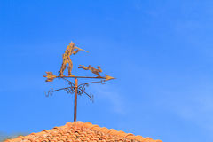 Hunter and  rabbit weather Vane Royalty Free Stock Photos