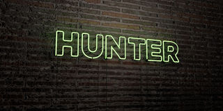 HUNTER -Realistic Neon Sign on Brick Wall background - 3D rendered royalty free stock image Stock Image