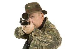 Hunter with rifle. Hunter with telescopic sights on rifle Stock Images