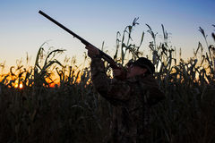 Hunter with rifle aiming at ducks Royalty Free Stock Photography