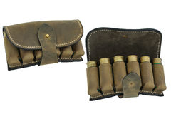 Hunter rifle ammo ammunition bandoliers with cartridges royalty free stock photo