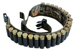 Hunter rifle ammo ammunition belt and bandolier, cartridges insi. De. Isolated Royalty Free Stock Images