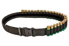 Hunter rifle ammo ammunition belt and bandolier, cartridges insi. De. Isolated Royalty Free Stock Photos