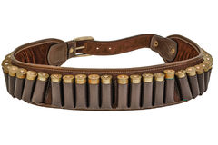 Hunter rifle ammo ammunition belt and bandolier, cartridges inside. Isolated. Brown leather, golden heads of ammunitions items.  Stock Photo