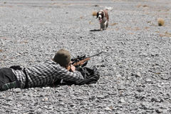 Hunter with rifle and hunting dog Stock Photography