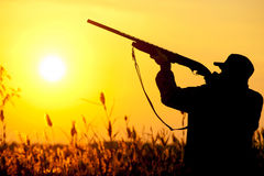 Hunter. Rifle Hunter Silhouetted in Beautiful Sunset. Summer Royalty Free Stock Image