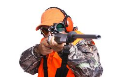 Hunter with a Rifle in your face Stock Photography