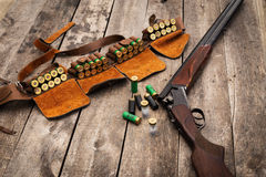 Hunter's ammunition. Rifle with patrons Royalty Free Stock Photos