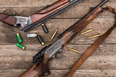 Hunter's ammunition. Rifle with patrons Royalty Free Stock Photo