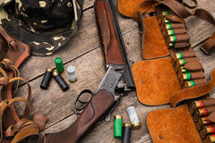 Hunter's ammunition. Rifle with patrons Stock Photography
