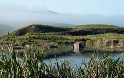Hunter's hut on a wetland Royalty Free Stock Image