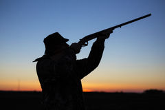 Free Hunter`s Silhouette At Sunset Royalty Free Stock Image - 86365236