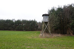 Hunter's stand. In the field near forest Stock Photography
