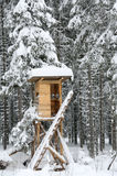 Hunter's stand in the winter forest. Covered with snow Royalty Free Stock Photo