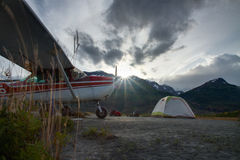 Hunters Sunrise. Waking up for the big hunt in the middle of Alaska Stock Photography