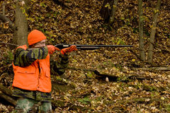 Hunter in safety orange Stock Photo