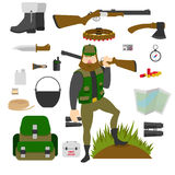 Hunter with set of amunition isolated. Gun, knife, axe, first aid kit, map, patrontage, bandolier, flask, pot, compass Royalty Free Stock Images