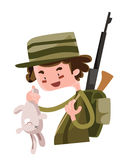 Hunter shoot wild bunny  illustration cartoon character Stock Photography