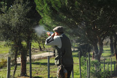 Hunter shooting. To small game early morning Stock Images