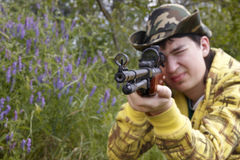 Hunter shooting up Royalty Free Stock Photos