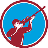 Hunter Shooting Up Rifle Circle Retro Royalty Free Stock Images