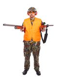 Hunter with shotgun and rifle Royalty Free Stock Photography