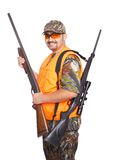 Hunter with shotgun and rifle Stock Photo