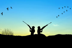 Hunter silhouette Stock Image
