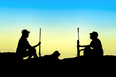 Hunter silhouette Royalty Free Stock Images