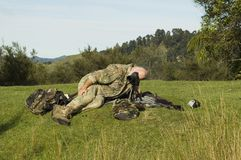 Hunter with spotting scope Stock Image