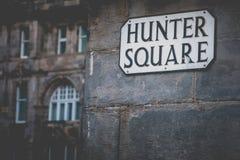 Hunter Square Street Sign in Edinburgh stock fotografie