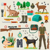 Hunter tourist man male tools and equipment stuff items set. Cartoon flat Hunting hunters icons collection. Stock Photos