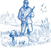 Hunter trained pointer gun dog. Hand drawing sketch illustration of a Hunter and trained pointer gun dog hunting royalty free illustration