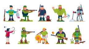 Hunter vector cartoon character of huntsman hunting with gun in forest and man in hat hunts with rifle or shotgun. Illustration set isolated on white background Stock Images