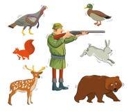 Hunter and wild animals Stock Image