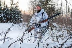 Hunter in winter Stock Image
