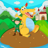 Hunter and yellow dragon on island Stock Photo