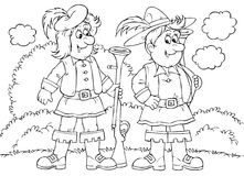 Hunters. Black-and-white illustration (coloring page): two smiling hunters (fairytale Little Red Riding Hood Royalty Free Stock Photography