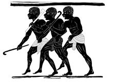 Hunters. Ancient art - image of the three hunters in primitive style Royalty Free Stock Photos