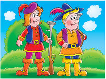 Hunters. Children's book illustration for yours design, postcard, album, cover, scrapbook, etc Royalty Free Stock Image