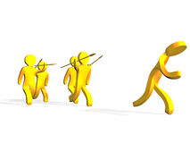 Hunters. A 3D illustration of yellow hunters running and carrying spears, while another yellow man escaping their attack Royalty Free Stock Images