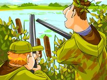 Hunters aiming the hunt. During the hunting season. Cartoon illustration vector illustration