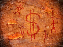 Hunters on cave paint. Digital illustration with dollar symbol Stock Images